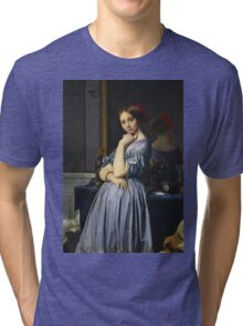 Jean-Auguste-Dominique Ingres - Comtesse D Haussonville. Woman portrait: sensual woman, girly art, female style, pretty women, femine, beautiful dress, cute, creativity, love, sexy lady, erotic pose Tri-blend T-Shirt