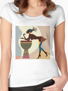 African woman with bongos Women's Fitted Scoop T-Shirt