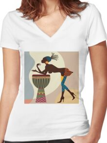 African woman with bongos Women's Fitted V-Neck T-Shirt