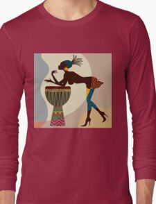 African woman with bongos Long Sleeve T-Shirt