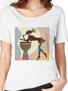 African woman with bongos Women's Relaxed Fit T-Shirt