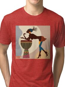 African woman with bongos Tri-blend T-Shirt