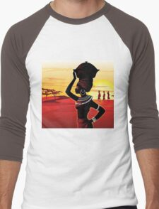 African woman Men's Baseball ¾ T-Shirt