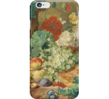 Jan Van Huysum - Still Life With Flowers And Fruit. Still life with fruits and vegetables: fruit, vegetable, grapes, tasty, gastronomy food, flowers, dish, cooking, kitchen, vase iPhone Case/Skin