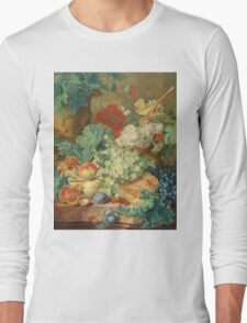 Jan Van Huysum - Still Life With Flowers And Fruit. Still life with fruits and vegetables: fruit, vegetable, grapes, tasty, gastronomy food, flowers, dish, cooking, kitchen, vase Long Sleeve T-Shirt