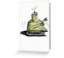 Olive Green Working Robot Greeting Card