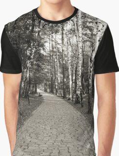 Monochrome cobblestone alley in the park Graphic T-Shirt