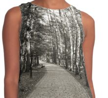 Monochrome cobblestone alley in the park Contrast Tank