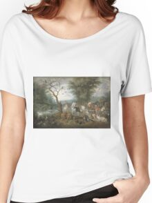 Jan Brueghel The Elder - Paradise Landscape With The Animals Entering Noah S Ark. Animal portrait: cute cat, horse, race, man hobby, running, wild life, animal, racing mustang, hunt, cowboy, sport Women's Relaxed Fit T-Shirt