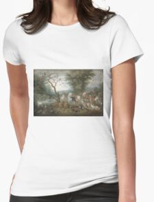 Jan Brueghel The Elder - Paradise Landscape With The Animals Entering Noah S Ark. Animal portrait: cute cat, horse, race, man hobby, running, wild life, animal, racing mustang, hunt, cowboy, sport Womens Fitted T-Shirt