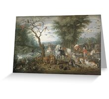 Jan Brueghel The Elder - Paradise Landscape With The Animals Entering Noah S Ark. Animal portrait: cute cat, horse, race, man hobby, running, wild life, animal, racing mustang, hunt, cowboy, sport Greeting Card