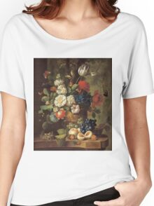 Jan Van Os - Flowers . Still life with flowers: still life with flowers, flowers, blossom, nature, botanical, floral flora, wonderful flower, plants, cute plant for kitchen interior, garden, vase Women's Relaxed Fit T-Shirt