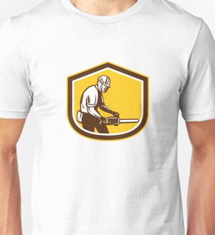 Lumberjack Operating Chainsaw Shield Retro Unisex T-Shirt