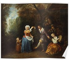 Jean-Antoine Watteau - The Country Dance.Family portrait: father and son, mother and daughter, female and male, dad daddy, child baby, beautiful dress, lovely family, mothers day, memory, mom, friends Poster
