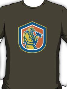 Fireman Firefighter Holding Fire Axe Shield  T-Shirt
