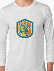 Fireman Firefighter Holding Fire Axe Shield  Long Sleeve T-Shirt