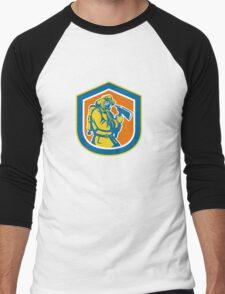 Fireman Firefighter Holding Fire Axe Shield  Men's Baseball ¾ T-Shirt
