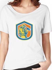 Fireman Firefighter Holding Fire Axe Shield  Women's Relaxed Fit T-Shirt