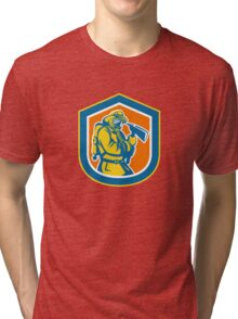 Fireman Firefighter Holding Fire Axe Shield  Tri-blend T-Shirt