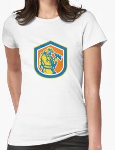 Fireman Firefighter Holding Fire Axe Shield  Womens Fitted T-Shirt