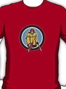 Fireman Carry Axe Hook Pike Pole Circle T-Shirt