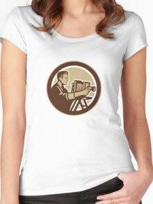Photographer Vintage Bellows Camera Retro Women's Fitted Scoop T-Shirt