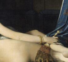 Jean-Auguste-Dominique Ingres - La Grande Odalisque. Woman portrait: sensual woman, girly art, female style, pretty women, femine, beautiful dress, cute, creativity, love, sexy lady, erotic pose Sticker