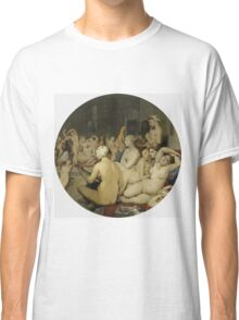 Jean-Auguste-Dominique Ingres - Le Bain Turc. Woman portrait: sensual woman, girly art, female style, pretty women, femine, beautiful dress, cute, creativity, love, sexy lady, erotic pose Classic T-Shirt