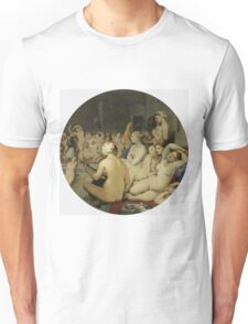 Jean-Auguste-Dominique Ingres - Le Bain Turc. Woman portrait: sensual woman, girly art, female style, pretty women, femine, beautiful dress, cute, creativity, love, sexy lady, erotic pose Unisex T-Shirt
