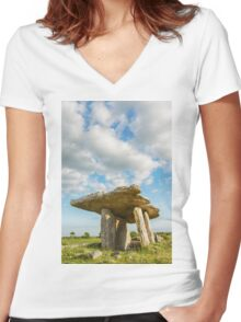 5000 years old Polnabrone Dolmen in Burren, Co. Clare - Ireland Women's Fitted V-Neck T-Shirt