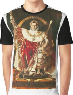 Jean-Auguste-Dominique Ingres - Napoleon I On The Imperial Throne. Man portrait: strong man, boy, male, beard, business suite, masculine, boyfriend, smile, manly, sexy men, mustache Graphic T-Shirt