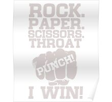 Funny Game Quotes, Rock Paper Scissors, Throat Punch T-Shirt Poster