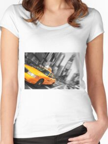 new york times square cityscape skyline yellow taxi cab Women's Fitted Scoop T-Shirt