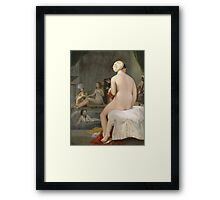 Jean-Auguste-Dominique Ingres - The Small Bather. Woman portrait: sensual woman, girly art, female style, pretty women, femine, beautiful dress, cute, creativity, love, sexy lady, erotic pose Framed Print
