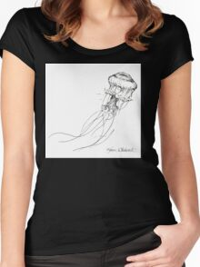 Jellyfish Sketch - Black and White Nautical Theme Decor Women's Fitted Scoop T-Shirt