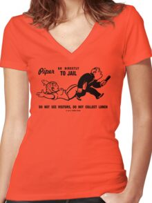 PIPER GO TO JAIL Women's Fitted V-Neck T-Shirt