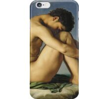 Jean Hippolyte Flandrin - Naked Young Man Sitting By The Sea. Man portrait: strong man, boy, male, beard, business suite, masculine, boyfriend, smile, manly, sexy men, mustache iPhone Case/Skin