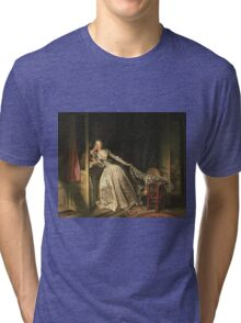 Jean-Honore Fragonard - The Stolen Kiss. Lovers portrait: sensual woman, woman and man, kiss, kissing lovers, love relations, lovely couple, family, valentine's day, sexy, romance, female and male Tri-blend T-Shirt