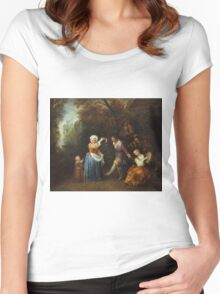 Jean-Antoine Watteau - The Country Dance.Family portrait: father and son, mother and daughter, female and male, dad daddy, child baby, beautiful dress, lovely family, mothers day, memory, mom, friends Women's Fitted Scoop T-Shirt