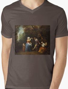 Jean-Antoine Watteau - The Country Dance.Family portrait: father and son, mother and daughter, female and male, dad daddy, child baby, beautiful dress, lovely family, mothers day, memory, mom, friends Mens V-Neck T-Shirt