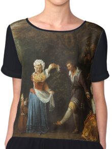 Jean-Antoine Watteau - The Country Dance.Family portrait: father and son, mother and daughter, female and male, dad daddy, child baby, beautiful dress, lovely family, mothers day, memory, mom, friends Women's Chiffon Top