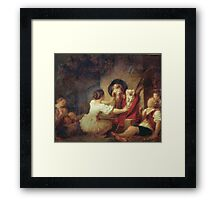 Jean-Honore Fragonard - Education Is All. Dog painting: cute dog, dogs, doggy, lucky, pets, wild life, animal, smile, little small, kids, nature Framed Print