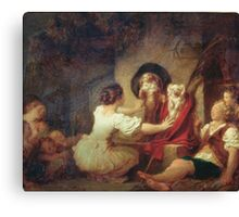 Jean-Honore Fragonard - Education Is All. Dog painting: cute dog, dogs, doggy, lucky, pets, wild life, animal, smile, little small, kids, nature Canvas Print
