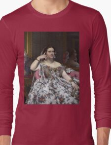 Jean-Auguste-Dominique Ingres - Madame Moitessier. Woman portrait: sensual woman, girly art, female style, pretty women, femine, beautiful dress, cute, creativity, love, sexy lady, erotic pose Long Sleeve T-Shirt