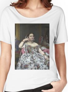 Jean-Auguste-Dominique Ingres - Madame Moitessier. Woman portrait: sensual woman, girly art, female style, pretty women, femine, beautiful dress, cute, creativity, love, sexy lady, erotic pose Women's Relaxed Fit T-Shirt