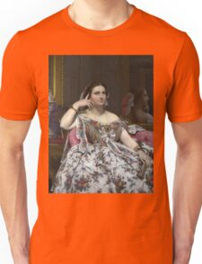 Jean-Auguste-Dominique Ingres - Madame Moitessier. Woman portrait: sensual woman, girly art, female style, pretty women, femine, beautiful dress, cute, creativity, love, sexy lady, erotic pose Unisex T-Shirt