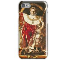 Jean-Auguste-Dominique Ingres - Napoleon I On The Imperial Throne. Man portrait: strong man, boy, male, beard, business suite, masculine, boyfriend, smile, manly, sexy men, mustache iPhone Case/Skin
