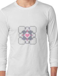 Portal - Companion Cube Pixl8ed Long Sleeve T-Shirt