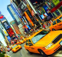 new york times square nyc skyline cityscape taxi cab by Noel Moore Up The Banner Photography