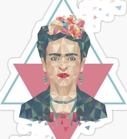 Pastel Frida - Geometric Portrait with Triangles Sticker